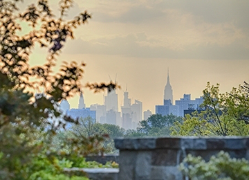 NYC Skyline from St. 约翰 Campus